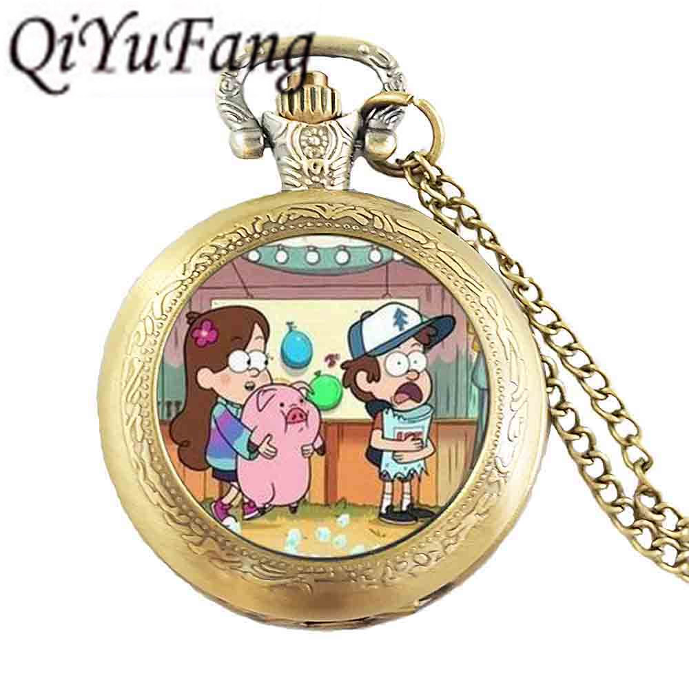 Steampunk Drama Gravity Falls BILL CIPHER WHEEL mabel pig drink ice cream pocket watch Charms Necklace doctor 1pcs/lot chain