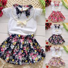 цена на 3PCS Kids Baby Girls Summer Clothes Tops T-shirt+Flower Skirts Dress Outfits Set