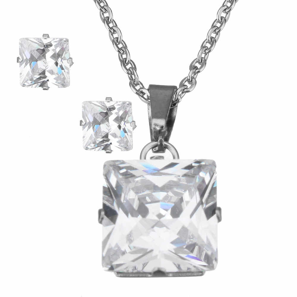 Newest Fashion Stainless Steel Jewelry Sets Stud Earring & Necklace Square  CZ Pendant Necklace For Women Bridal Wedding Jewelry