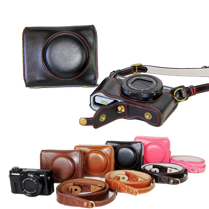 New Luxury Leather Camera Case For Canon Powershot G7X Mark 2 G7X II G7XIIDigital Camera PU Leather Camera Bag Cover + strap doumoo 330 330 mm long focal length 2000 mm fresnel lens for solar energy collection plastic optical fresnel lens pmma material