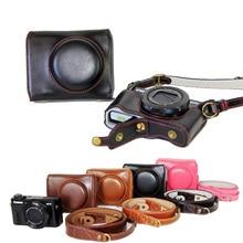 New Luxury Leather Camera Case For Canon Powershot G7X Mark 2 G7X II G7XIIDigital Camera PU Leather Camera Bag Cover + strap