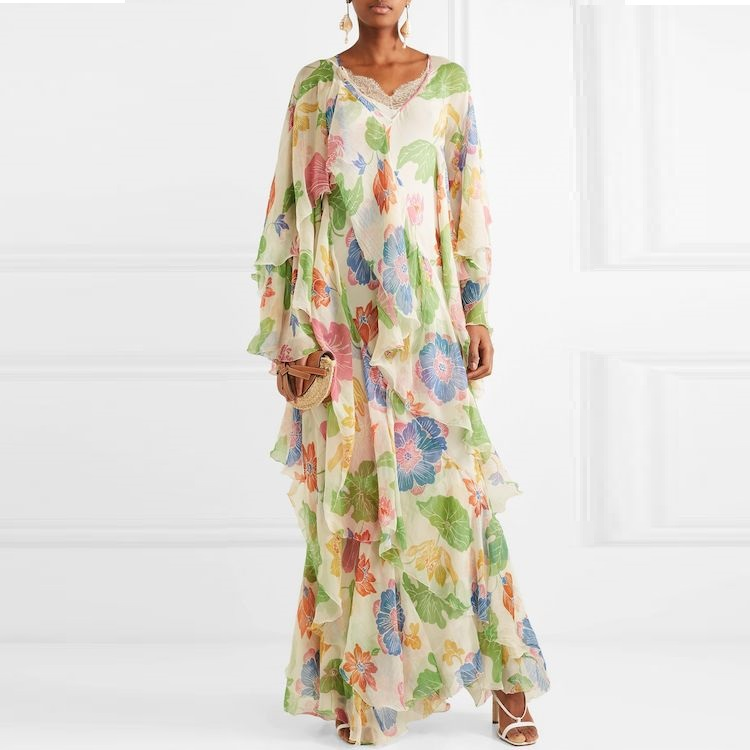 Robe en soie de haute qualité célébrité designer piste volants imprimer longues robes maxi vacances plage robe de soirée vestidos F328