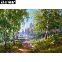 Forest Lane 50x38 3D Diy Diamond Painting Wall Sticker Diamond Mosaic Cross Stitch Needlework Embroidery Diamond
