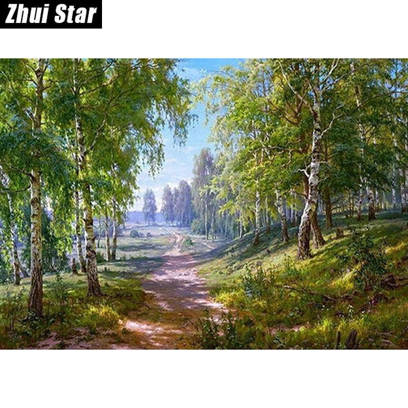 Forest Lane 50x38 3D pintura diamante bricolaje etiqueta de la pared diamante mosaico punto de cruz bordado bordado diamante