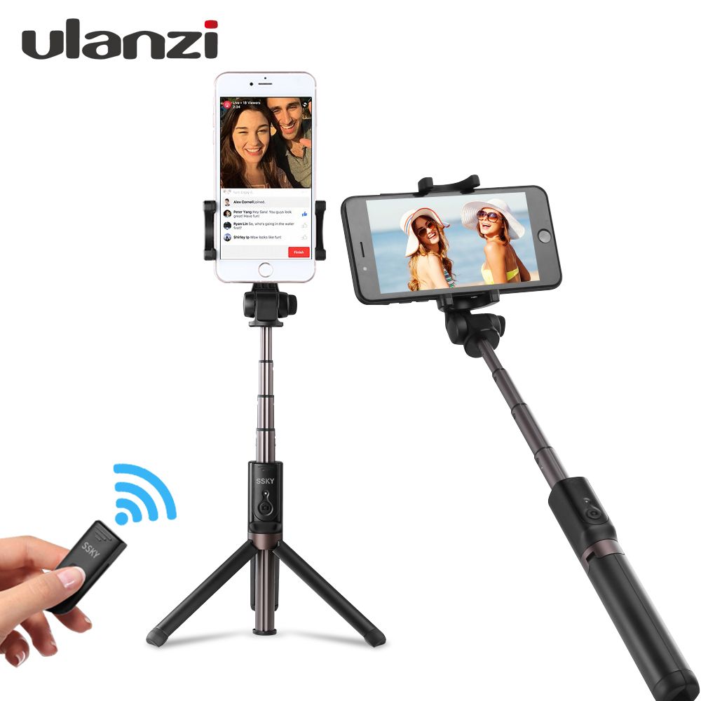 Ulanzi 3 in 1 Selfie Stick Tripod w 360 Degree Rotation Phone Clip Mount and Bluetooth Remote for iPhone 8 Meizu XiaoMi 6 HuaWei