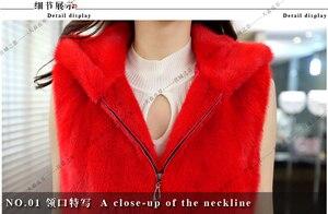 Image 4 - Chaleco Natural con capucha de visón Real abrigo de piel de visón largo con capucha ouwear