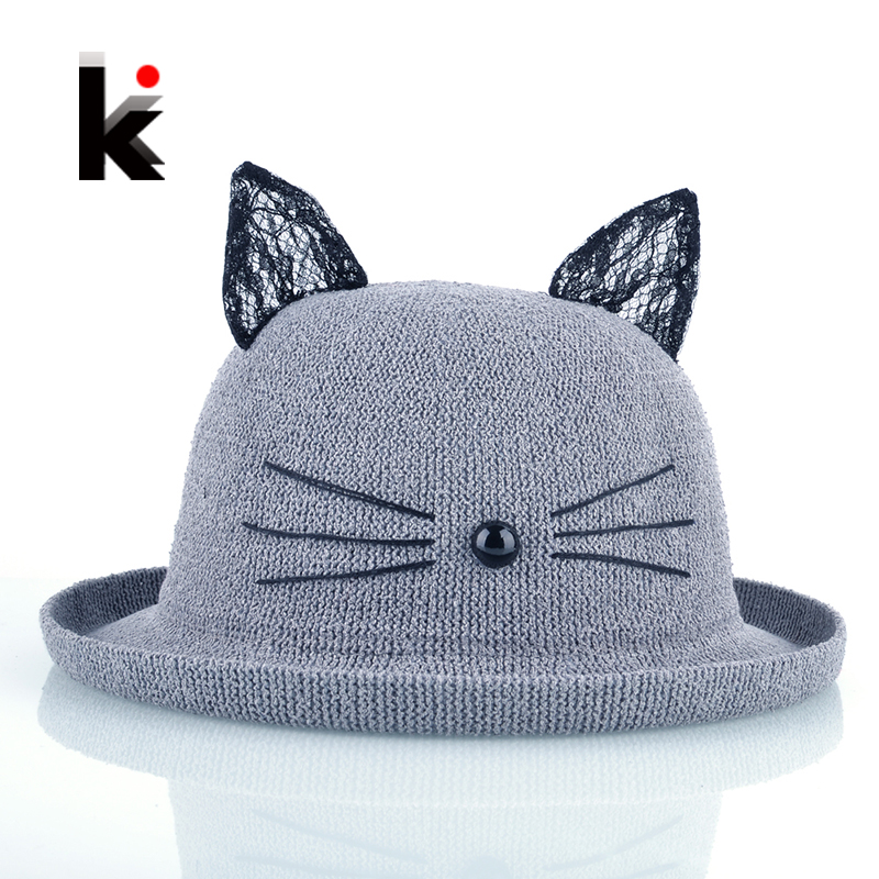 summer straw hat with cute cat ears for women wide brim