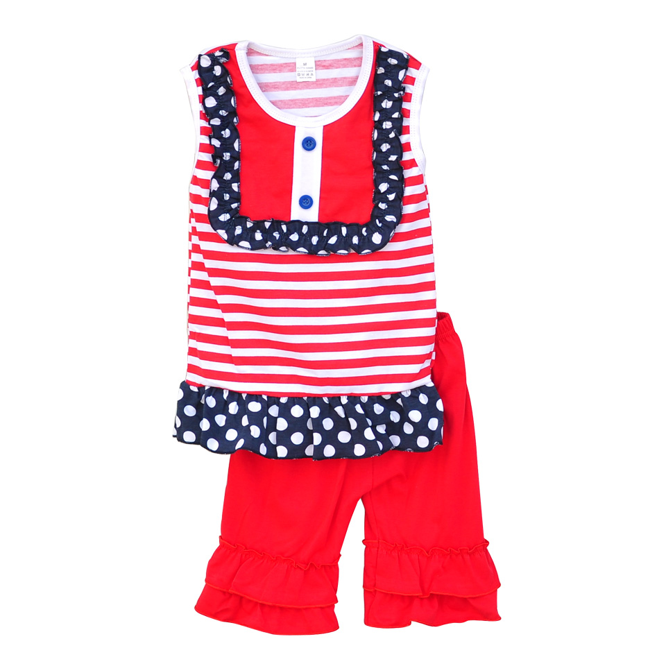 Wholesales Girls Boutique Clothing Set Dot Red Striped Patchwork Red Capris Baby Girl Clothes 2016 DX001