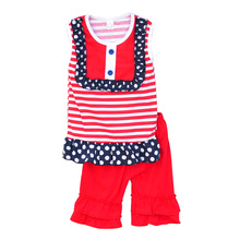 Wholesales Girls Boutique Clothing Set Dot Red Striped Patchwork Red Capris Baby Girl Clothes J004