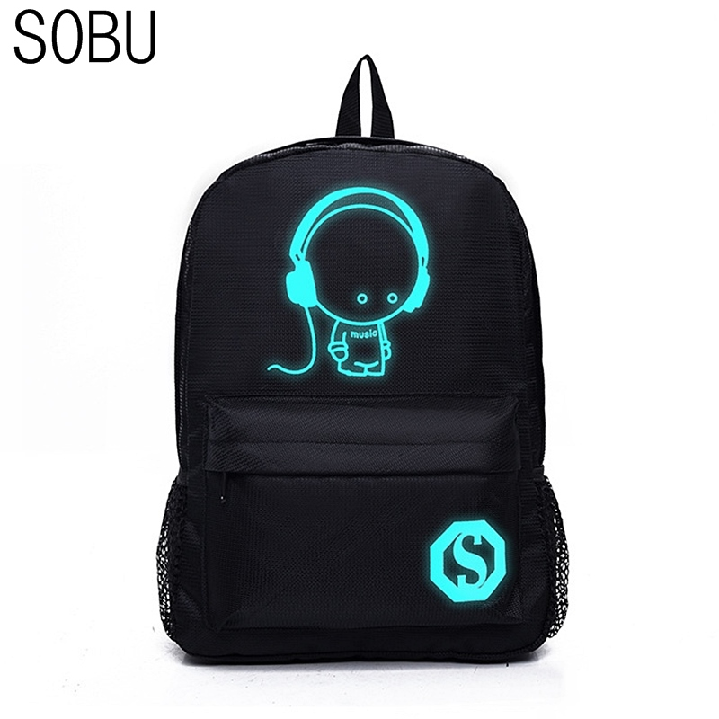 School Backpack Student Luminous Animation Children School Bags For Teenager Computer Anti-theft Laptop Backpack S009