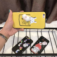 Luxury 3D Cute Glaze Shine Soft Cartoon Silicon Protective Shell Coque Funda For IPhone7 7Plus Plastic
