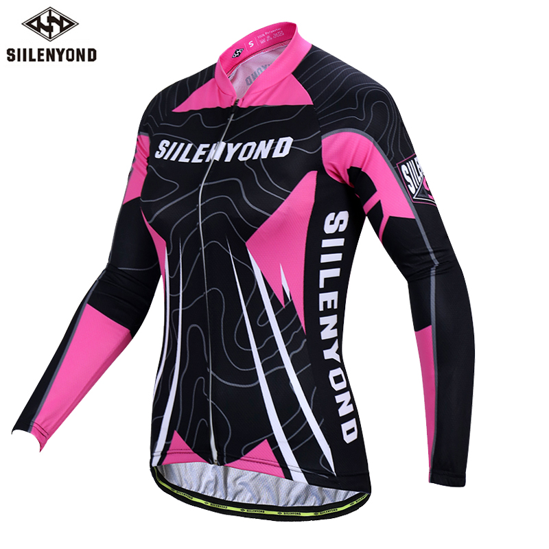 SIILENYOND Brand Natasha Long Sleeve 100% Polyester Women Cycling Jersey Autumn MTB Bike Wear Cycling Clothing Ropa De Ciclismo