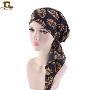 Image 5 - Müslüman Ön Tied Eşarp Kemo Kasketleri Bonnet Kapaklar Kadın Baskı Çiçek Yumuşak Türban Şapka Başörtüsü Wrap Kanser saç aksesuarları