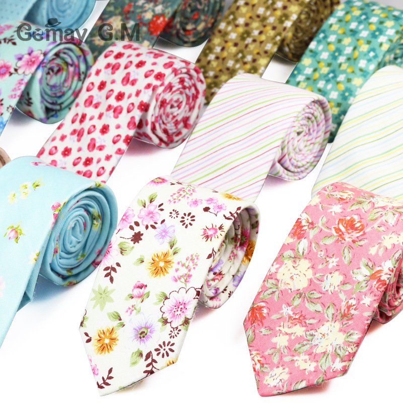 New Fashion Floral Retro Casual Suits Men's Slim Tie Printing Floral Pattern Ties For Men Narrow  Cotton Necktie