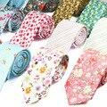 Nueva Moda Retro Floral Juegos Ocasionales de Los Hombres del Lazo Delgado Impresión Floral Patrón de Algodón Corbata estrecha Lazos Para Los Hombres