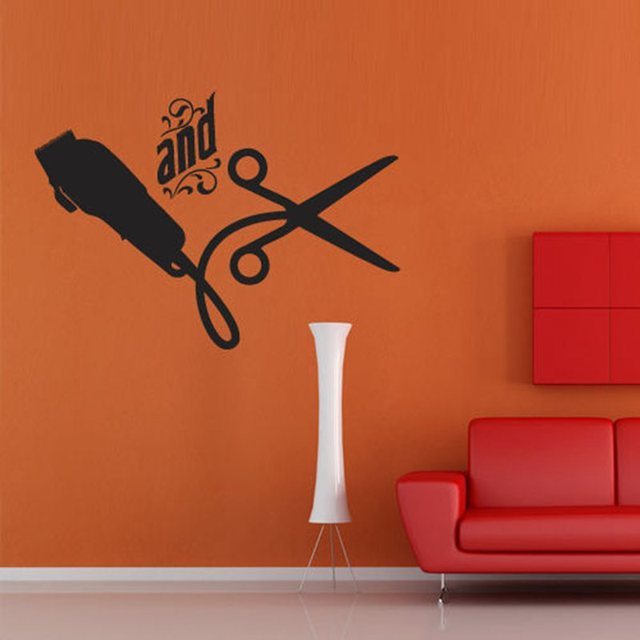 Aliexpresscom Buy Barber Shop Sticker Scissors Clipper Hair
