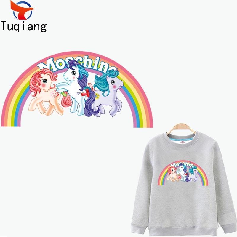 Cartoon Rainbow pony Iron On Patches For Clothes A-level Washable DIY Decoration T-shirt Dresses Appliques 34.9*18.1CM