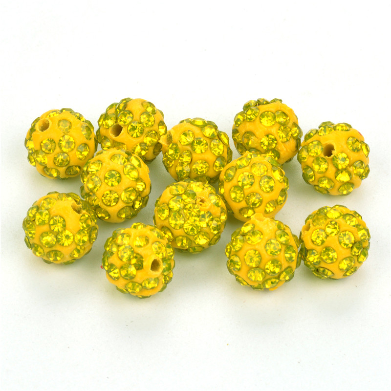 Jewelry & Accessories 33color 50pcs 10mm Lemon Yellow Shamballa Beads Clay Pave Rhinestone Crystal Shamballa Ball Beads For Diy Jewelry Making