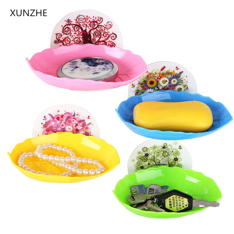 XUNZHE New Home Bathroom Accessories Soap Dish Tray Draw Sucker Holder Kitchen Tools Sta ...