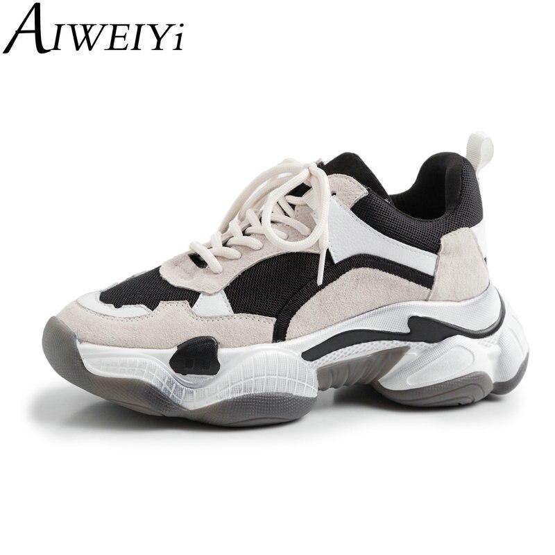 Aiweiyi Pelo Mujer Casuales De Zapatillas Negro Señora Real Mujeres Beige Beige Caballo Deporte Cuero black Zapatos Encaje HpSrHqnwY