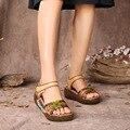 2017 Новый Женщин Неподдельной Кожи Сандалии Народная Стиль Полые Удобные Рыба Рот Пляжная Обувь 151-19
