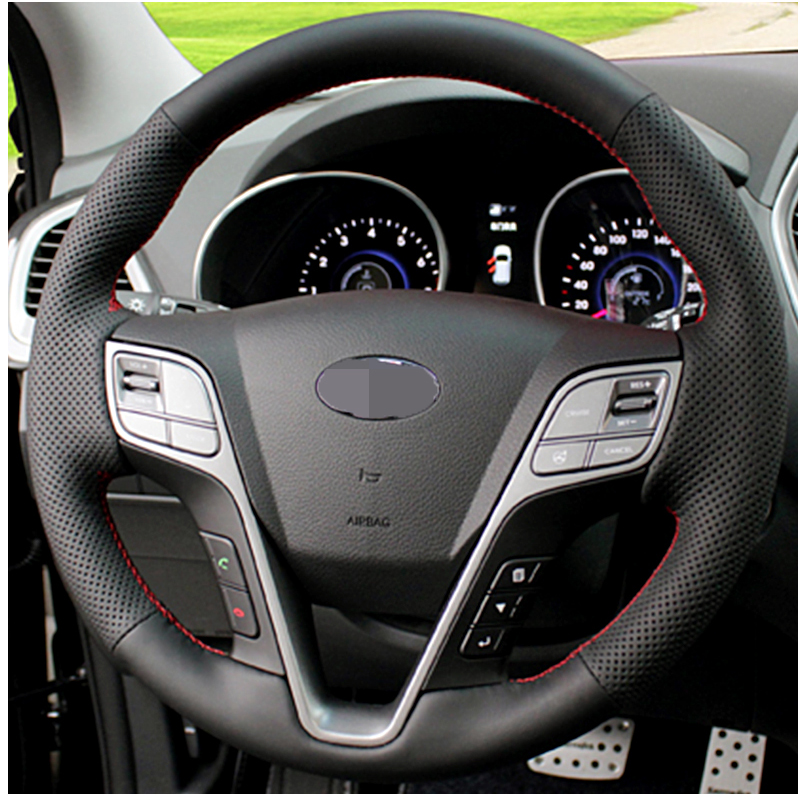 APPDEE DIY Car steering wheel cover Artificial Leather for <font><b>HYUNDAI</b></font> <font><b>Santa</b></font> <font><b>Fe</b></font> 2013 Grand ix45 <font><b>Accessories</b></font> interior image