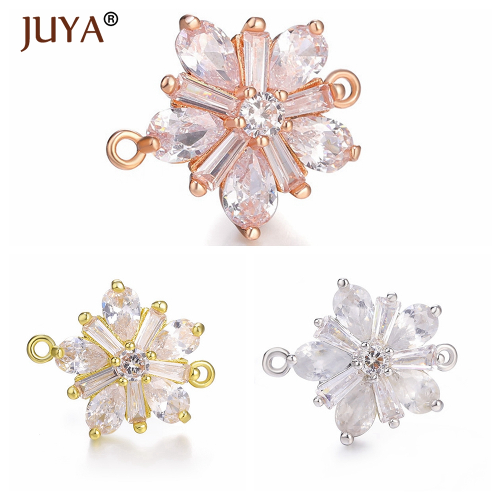 Luxury AAA Cubic Zirconia Cystal Flower Charms For Jewelry Making 2 Loops Connectors Pendant Handmade Bracelets Earrings diy