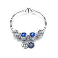 European Bracelets Blue Crystal Shiny Charms Beads Fits European Bracelets Bangles Star Exquisite Beads DIY 2017
