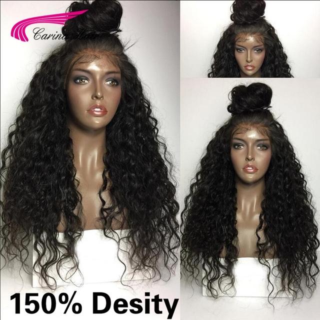7a malasio rizado peluca con el pelo del bebé del cordón del pelo humano natural frente peluca rizada profunda glueless llena del cordón pelucas de pelo negro para mujeres