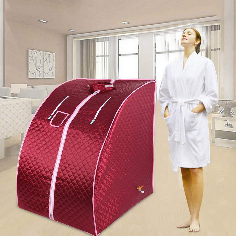 Steam Sauna Portable Sauna Room Beneficial Skin Detox Weight Loss Calories Bath SPA with Red Sauna