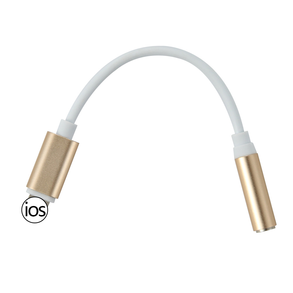 Lightning To 3 5mm Male: Golden For IOS Headphone Adapter For IPhone 8 X XS AUX
