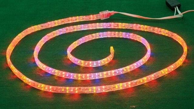 100m/roll LED 5 wires flat rope light;36leds/m;size:11mm*28mm;DC12V/24V/AC110/220V are optional;R+G+Y+B color