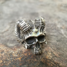 Unique Horned Devil Skull Rings Mens Satan Demon Stainless Steel Ring Silver Punk Biker Jewelry