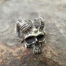 лучшая цена Unique Horned Devil Skull Rings Mens Satan Demon Stainless Steel Ring Silver Punk Biker Jewelry