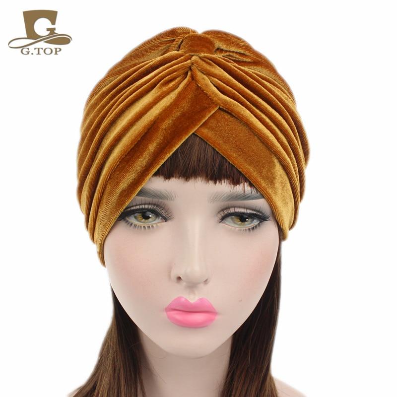 New luxury soft Velvet turban velour Hair cover headwrap Hijab Hat 16 colors headpiece
