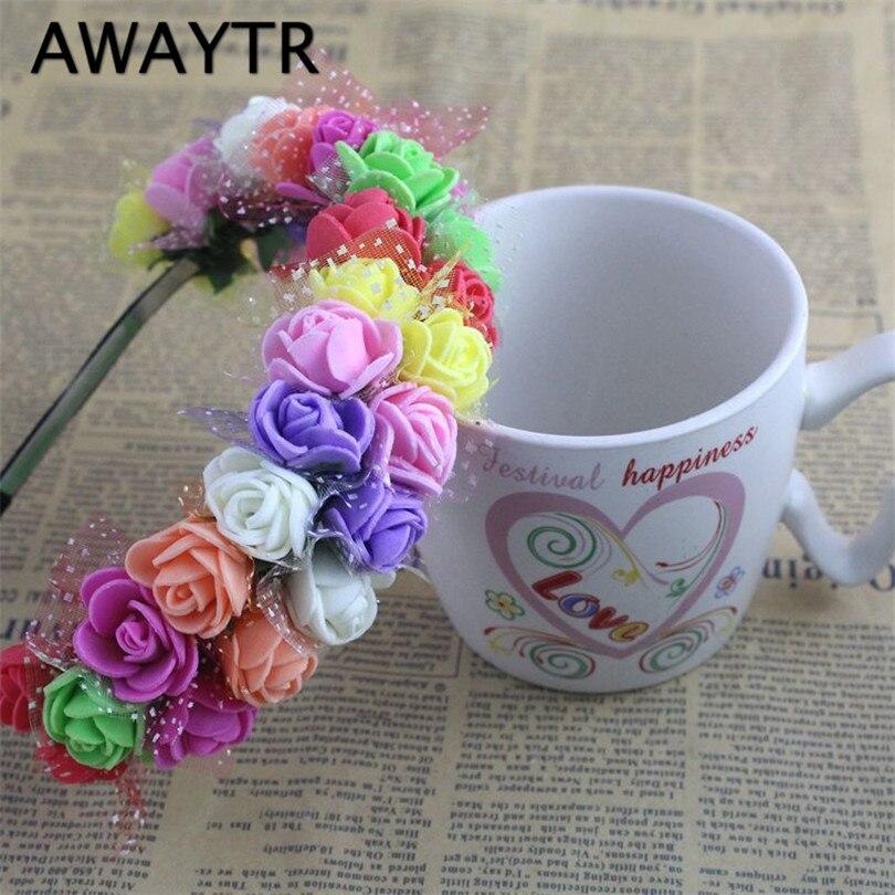 AWAYTR 1pcs/lot Fashion Womens Bohemia Style Beach Flower Lace Hair Bands Headband Hair Accessory 9 Colors Wedding Hair Jewelry