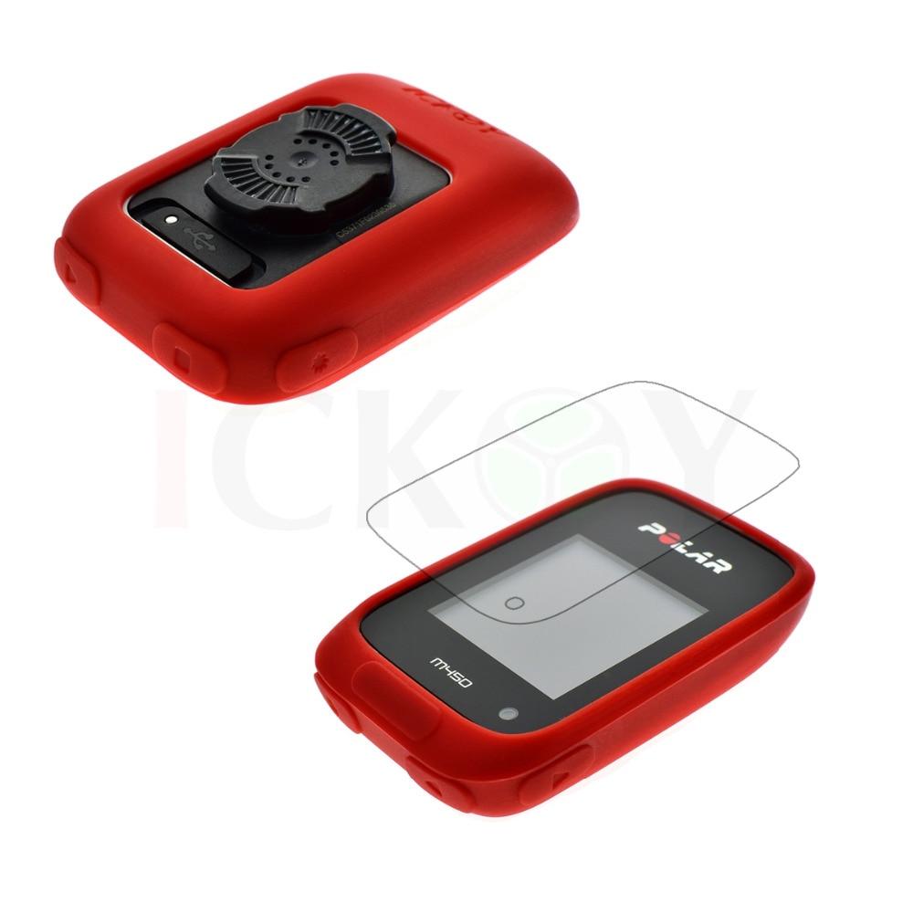 bilder für Outdoor Fahrrad Straße/Mountainbike Zubehör Gummi Rot Case + Screen Protector Schild Film für Radfahren GPS Polar M450