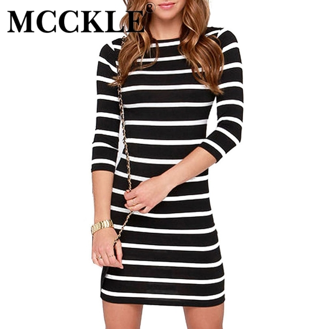 Mcckle dress womans moda ropa de abrigo que adelgaza mujeres casuals vestidos 2017 del o-cuello mini rayas bodycon dress otoño
