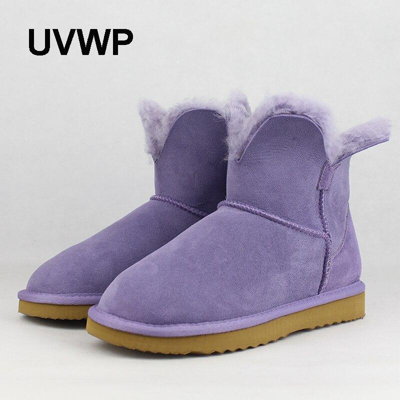 Botas de nieve de alta calidad UVWP para mujer, botas de invierno de piel de oveja genuina, zapatos de invierno de piel Natural, botas de lana auténtica para mujer-in Botas de nieve from zapatos    1