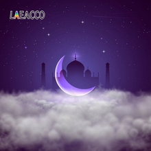 Laeacco Mosque Ramadan Kareem Festival Crescent Wreath Scene Photographic Background Vinyl Photography Backdrop For Photo Studio