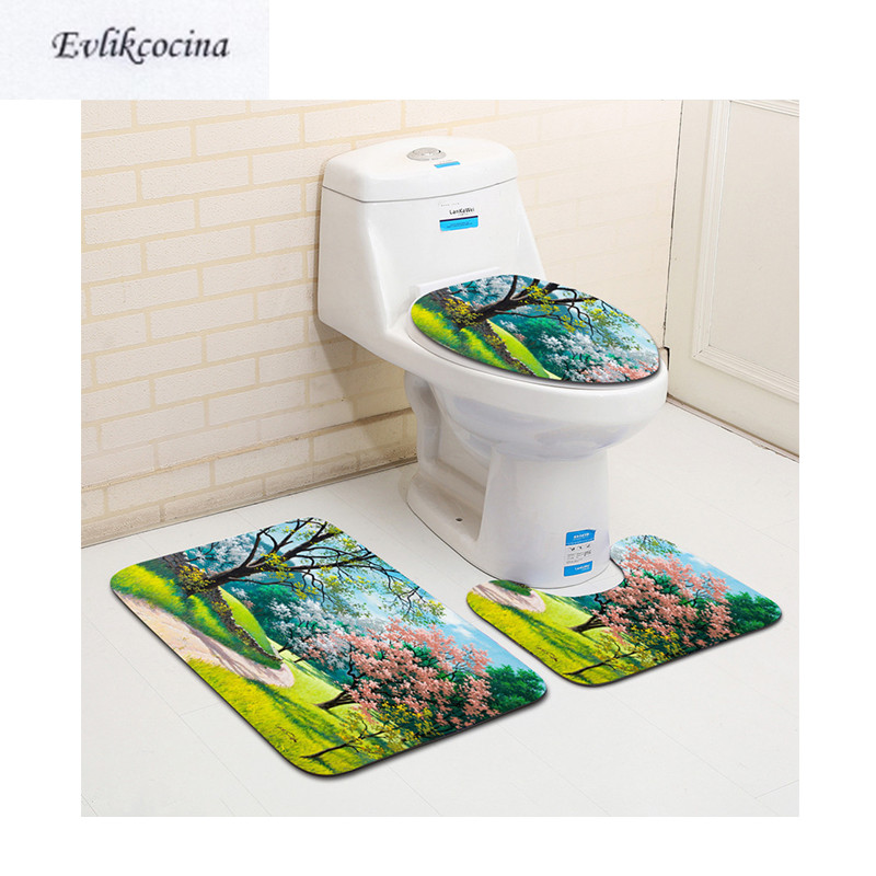 Free Shipping 3pcs Morning Park Road Banyo Paspas Bathroom Carpet Toilet Bath Mat Set Non Slip Tapis Salle De Bain Alfombra Bano
