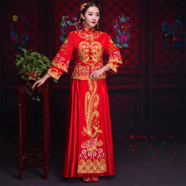 2018 Women Phoenix Embroidery Cheongsam Long Qipao Chinese Traditional  Wedding Dress China Clothing Store 98db90b3dcc4