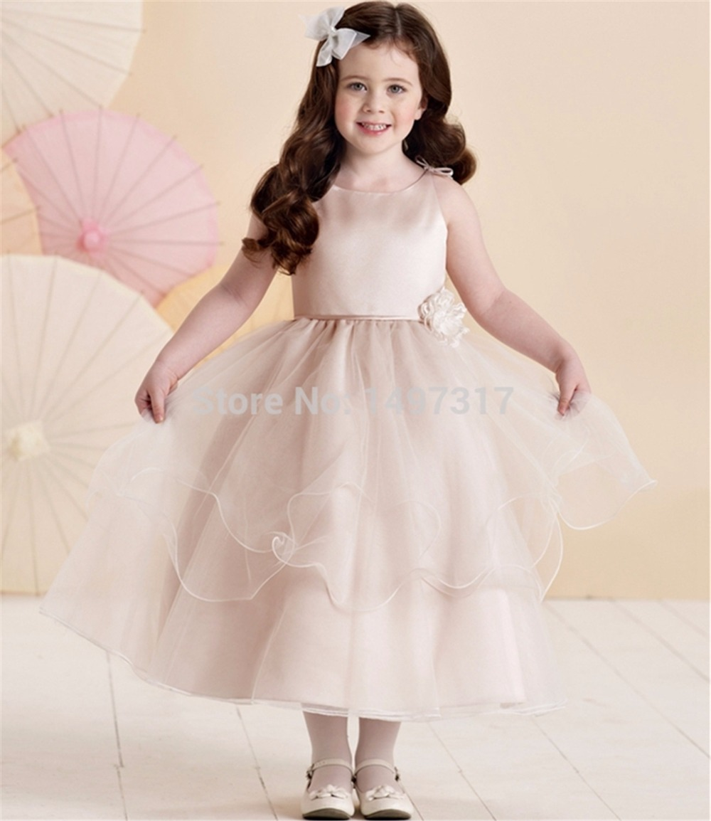 Vestidos De Comunion Children Scoop Tiered   Flowers   Ball Gown Organza Champagne Color   Flower     Girl     Dresses   Kids Frock Designs