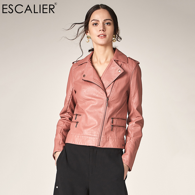 Escalier Motorcycle Leather Jacket Women Casual Long Sleeve Slim Coat Fashion PU Leather Turn down Collar