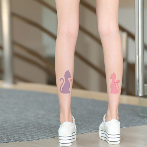 Princess sweet lolita pantyhose Japanese sexy cat fake tattoo Personality feet after tattoo thin pantyhose LWK77