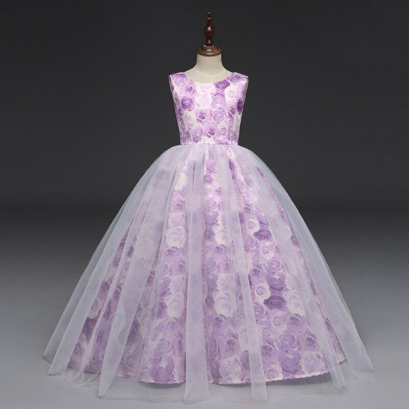 U-SWEAR 2019 New Arrival Kid   Flower     Girl     Dresses   Purple Rose Print Bow Backless Zipper   Girls   Pageant   Dresses   Vestidos