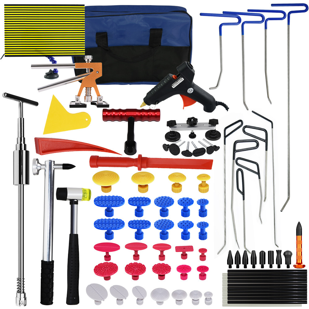 Furuix Paintless Dent Kit di Riparazione con Aste PDR Dent Puller Dent Lifter PDR Luce per Diapositive Martello Auto Dent Remover Kit PDR Colla Kit