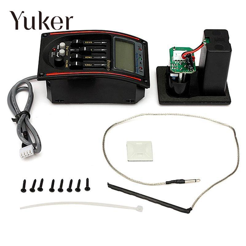 Yuker Acoustic 5-Band Guitar EQ Preamplifier Piezo Pickup LCD Tuner Equalizer System joyo eq 307 folk guitarra 5 band eq acoutsic guitar equalizer high sensibility presence adjustable with phase effect and tuner