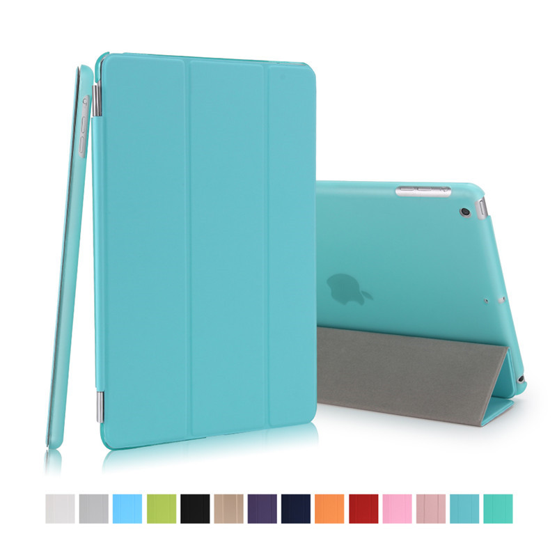 for ipad mini 3 cover 7.9inch pu leather with hard plastic matte transparent back case for mini 1 mini 2 smart wake up sleep