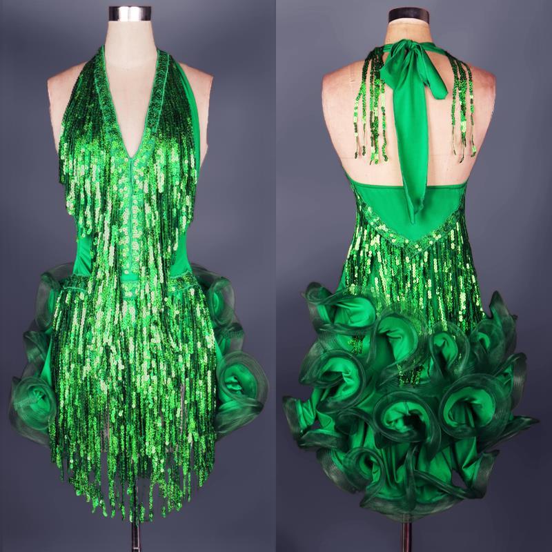 Robe de danse latine costume professionnel vert pour femmes frange costume samba coloré femmes salle de bal robes de concours glands